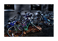 bicycles waiting for riders